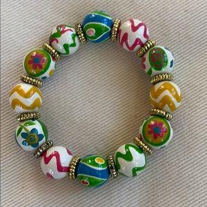 Angela Moore hand painted beaded bracelet